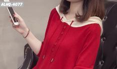 ALHQ-40 Áo len phối nón phong cách Hàn Quốc. Áo che bụng (màu đỏ)