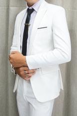 Bô vest nam 1 nút ôm body màu trắng tặng kèm combo phụ kiện