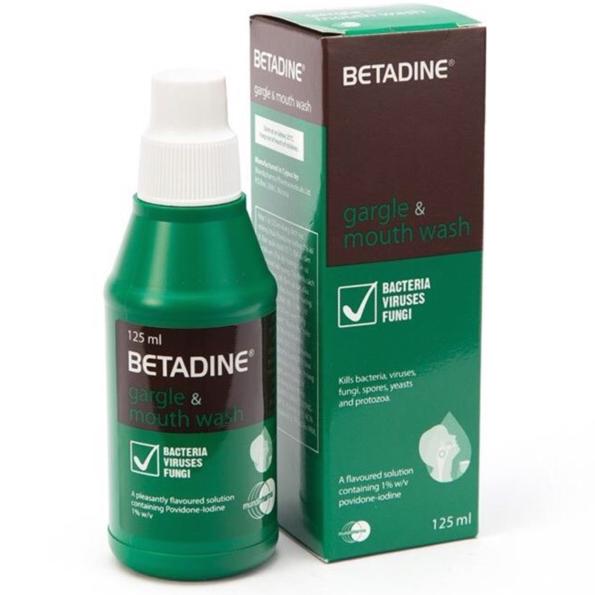 Dung dịch súc miệng và sát trùng Họng Betadine Gargle & mouth wash ( 125ml )