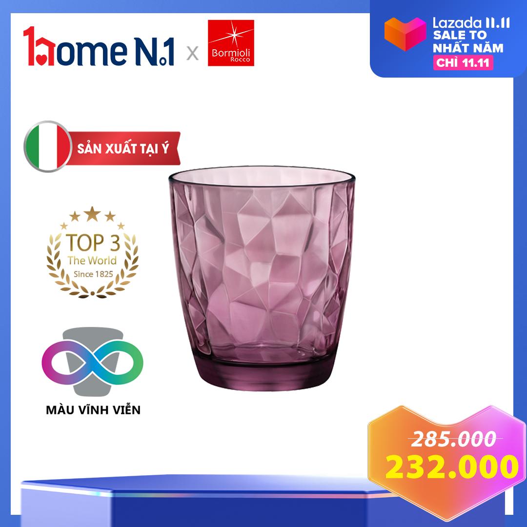 Bộ 6 ly nước thủy tinh Bormioli Diamond – Dung tích 300 ml – Sản xuất tại Ý – Bền màu vĩnh viễn – Dùng được với máy rửa chén