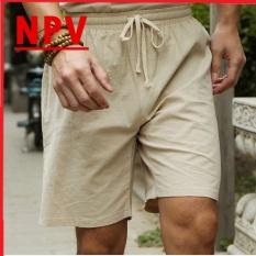 Quần sooc đũi nam NPV chất đũi mềm mát, quần short thể thao chuẩn form cạp chun dây rút