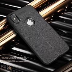 Ốp lưng Iphone Dẻo đen giả da siêu đẹp-IP X