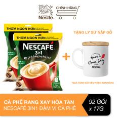 [Tặng ly sứ nắp gỗ] Combo 2 bịch cà phê rang xay hòa tan Nescafé 3 in 1 đậm vị cà phê (Bịch 46 gói x 17g)