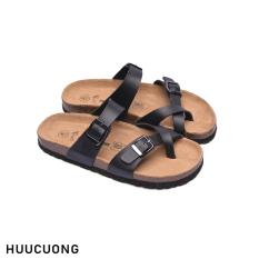 Dép unisex HuuCuong – xỏ ngón đen đế trấu