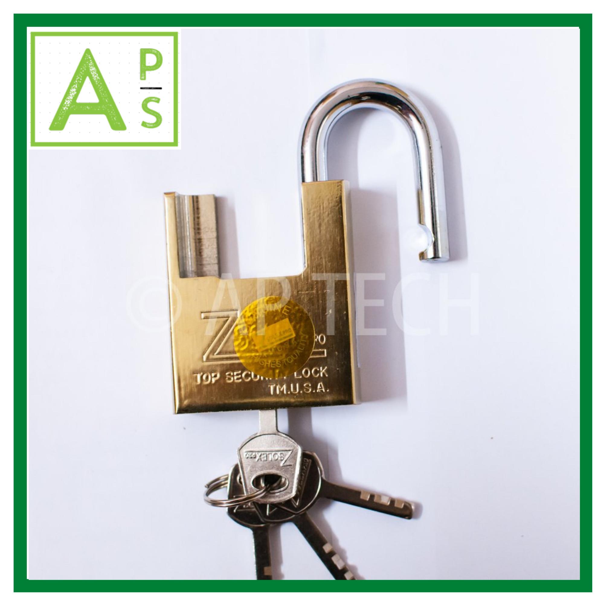 Ổ Khoá Chống Cắt ZSolex 60mm, Ổ Khoá Thép Không Gỉ khoá cửa an toàn, dễ sử dụng (vàng)