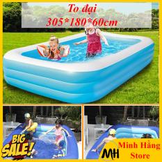 [ LOẠI CỠ LỚN- DÀI LOẠI 3M VÀ LOẠI 2M6- GIẢM GIÁ CỰC SỐC CHỈ 3 NGÀY] Bể bơi 3 tầng hình chữ nhật cho trẻ em và người lớn vui chơi, bể tắm bơm hơi tiện dụng, Bể phao 3 tầng cho cả gia đình