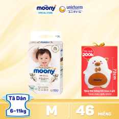 [Voucher 8%] [Mua 2 tặng 1 gấu bông] Tã/Bỉm dán cao cấp Moony Natural bề mặt bông 100% cotton organic size M 46 miếng (6 – 11kg)