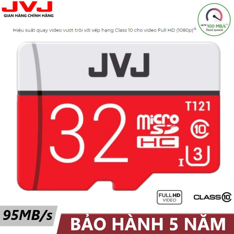 Thẻ nhớ 32G Class 10 U3 JVJ Pro microSDHC tốc độ cao 95MB/s Thẻ nhớ cho camera wifi, camera hành trình, điện thoại, máy chơi game, chất lượng hình ảnh 4k tặng kèm gói bảo hành 5 năm đổi mới trong vòng 7 ngày, thẻ 32Gớ