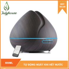 [Có remote] Máy khuếch tán tinh dầu tạo hương thơm hình Búp Sen 500ml JULYHOUSE phun sương tạo độ ẩm tự động tắt khi hết nước