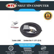 Cáp nối dài USB Unitek Y-271 5m lõi đồng chuẩn 2.0 tốc độ tối đa 480Mbps (Đen) – Hãng phân phối chính thức