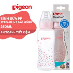 Bình sữa cổ hẹp PP Streamline Pigeon 250ml – Màu hồng (M)