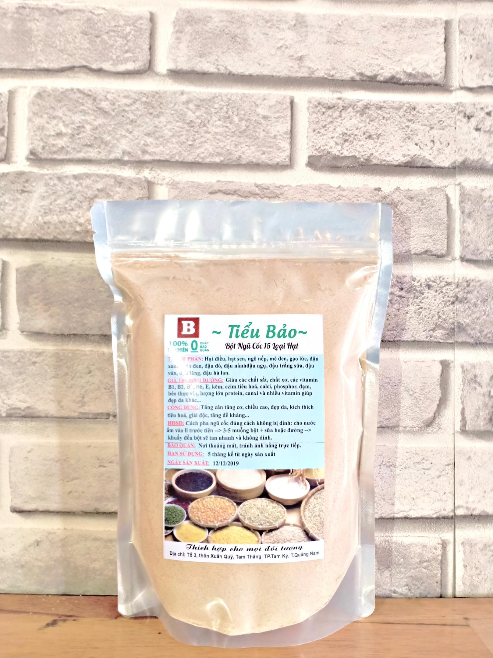 [Giá Xưởng] 0,5KG Bột ngũ cốc 15 loại hạt,tăng cân,chiều cao,đề kháng,hạt điều,hạt sen bắc,mè đen,gạo lức...