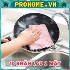 Set 10 Khăn Bông Lau Bếp, Lau Tay, Lau Chén Bát – Khăn Vệ Sinh Đa Năng 2 Mặt Siêu Thấm Hút