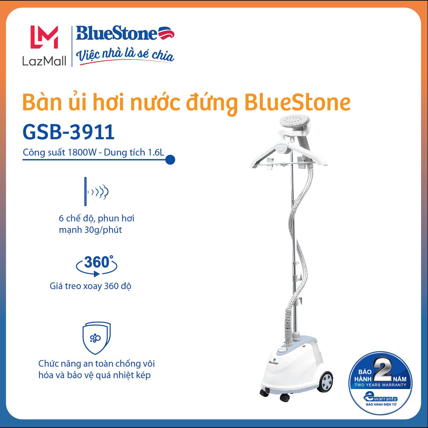 [Còn 969k-27-29.3] Bàn ủi hơi nước đứng BlueStone GSB-3911 1800W 1.6L phun hơi 30g/phút, 6 chế độ, giá treo xoay...