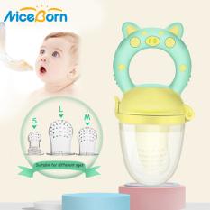 NiceBorn Núm tay cầm bằng silicon an toàn dùng lọc thức ăn cho em bé tự nhai + 3 núm vú có kích thước khác nhau