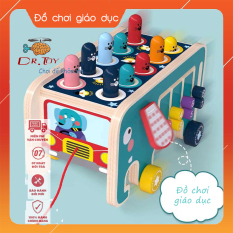 DrToy – Bộ đồ chơi trẻ em 4 trong 1 mẫu mới nhất 2020 gồm: đập chuột, xếp số, xoay bánh răng, ô tô kéo giúp bé chất liệu gỗ an toàn, giúp trẻ vừa chơi vừa học