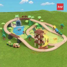 Jungle Train Set, bộ đồ chơi mô hình đường ray xe lửa gỗ 107pcs