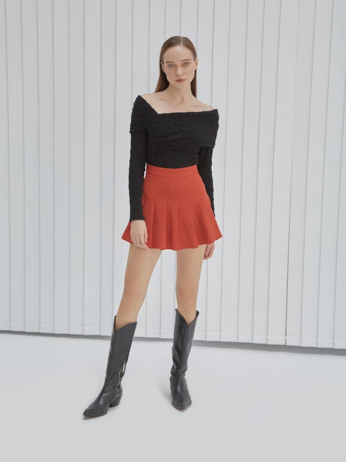 COCO SIN – Váy Mini Đỏ Xếp Ly