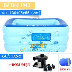 ( Tặng Bơm điện) Bể bơi phao 3 tầng ( 130 X 90 X 55 cm ) cho bé trong nhà hình chữ nhât cho bé cao cấp hình chữ nhật, hồ bơi bồn tắm trẻ em bơm hơi