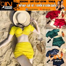 Bikini Nữ 2 Mảnh Quần Đùi Cạp Cao Aó Crop Bin Sports BHV074