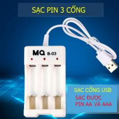 Bộ sạc pin AA, AAA 03 cổng (sạc pin Ni-Cd) – MQ-03 – 250mA cổng USB