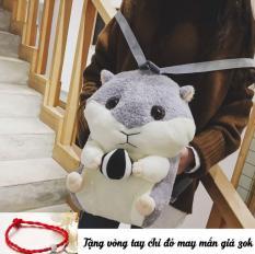 [Made in Việt Nam] Ba lô chuột hamster, hình thú bông siêu dễ thương, có chỗ xỏ tay giữ ấm (Tặng vòng tay chỉ đỏ may mắn)