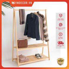 Giá gỗ treo quần áo 2 tầng gỗ thông VMdecor