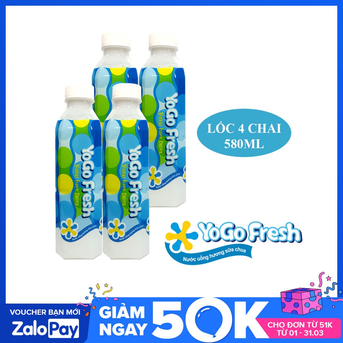 Lốc 4 chai nước uống hương sữa chua YOGOFRESH (580ml) - Nhập khẩu Đài Loan