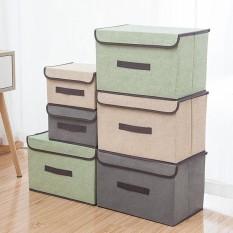 Sét 2 hộp vải khung cứng size to 38 x 25 tủ vải khung cứng, hộp chứa đồ xinh xắn , thùng đựng đồ