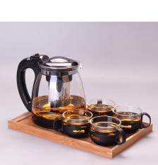 [BAO ĐẸP] Bộ Bình Lọc Trà Thủy Tinh Kèm 4 Ly Lưới Lọc Inox 304 T.H Liac Tiện Dụng – Bình Pha Trà,Bình pha cà phê – bình đựng nước