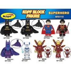 Minifigures Marvel DC Nhân Vật Batman Ironman MK50 MK85 Superman Robin Godspeed Kopf KF6115
