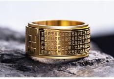 Nhẫn Titan Xoay Bát Nhã Tâm Kinh Khắc Chữ VẠN Loại Cao Cấp RBBATNHA