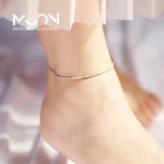 Lắc chân dây hoa nhỏ kết lại với nhau xi bạc 925 trắng sáng phụ kiện trang sức style hàn quốc – moon store acc