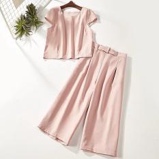 Áo lửng và quần bigsize nguyên set Hồng 3XL