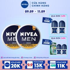 Bộ đôi Kem Dưỡng Da Nam NIVEA MEN Creme 3in1 Giúp Giảm Nhờn, Sáng Da, Cấp Ẩm (30G) – 83923