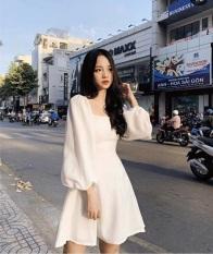 (Có video) Đầm xòe cổ vuông tay lỡ phồng vải thun mềm mịn, phù hợp với mọi lứa tuổi mọi vóc dáng dễ phối trang phục, có size to