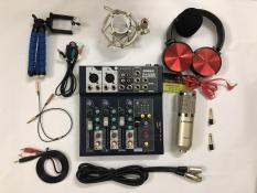 Combo mic thu âm BM900 woaichang + Mixer F4 yamaha bluetooth- Tặng kèm tai nghe và kẹp điện thoại