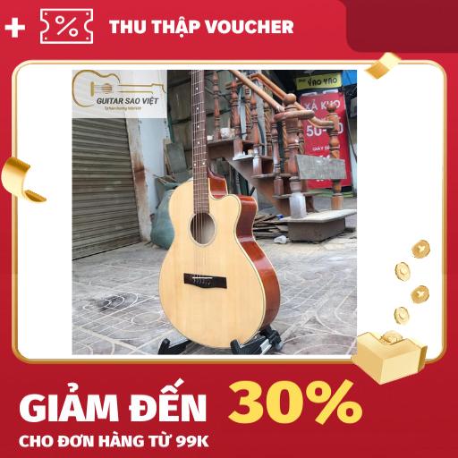 Đàn guitar acoustic giá rẻ có ty chỉnh cần Việt Nam mặt gỗ thông, dễ sử dụng cho người mới tập SV-01 (bảo hành 12 tháng)