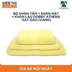 Bộ khăn tắm + khăn mặt + khăn lau Dobby Athena Hạt gạo (Vàng)