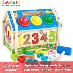 Đồ chơi gỗ nhà thông minh đa năng kết hợp đập bóng, thả số, bánh răng