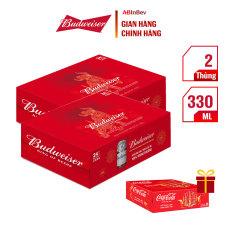 Tặng 1 thùng 24 lon Cocacola – Combo 2 thùng bia Tết Budweiser (330ml/lon)