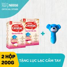 [Tặng 1 lục lạc cầm tay] Bộ 2 hộp Bột ăn dặm Nestle Cerelac 200g Gạo Lức Trộn Sữa