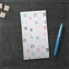 Sổ tay planner bìa cứng in hoạ tiết hình đồ vật – thu chi, lịch hẹn, to-do list, chấm bi, kẻ dòng