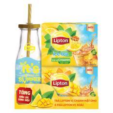 Combo 2 hộp trà Lipton Ice Tea Chanh Mật Ong và Xoài tặng bình lắc sành điệu