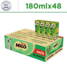 Thùng 48 hộp Nestlé MILO ít đường – 12 lốc x 4 hộp x 180ml