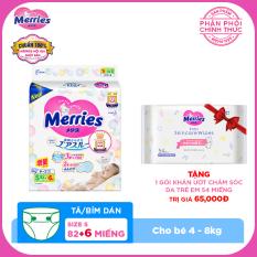 Mua Tã/bỉm dán Merries size S – 82 + 6 miếng (Cho bé 4-8kg) – Tặng 1 Gói khăn ướt chăm sóc da trẻ em 54 miếng