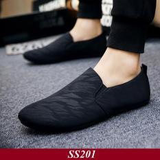 Giày Lười Nam Phong Cách Hàn Quốc Full Đen