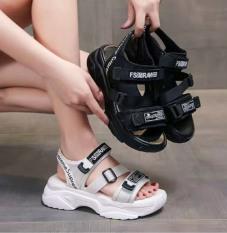 Dép sandal quai hậu nữ chữ RAW cá tính đế mềm êm chân