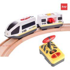 Tàu điện 2 toa chỡ khách (có bộ điều khiển không dây) dành cho đường ray gỗ, xe lửa chạy pin