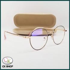 Gọng kính cận nam nữ mắt tròn kim loại màu đen, bạc, vàng hồng 29203. Tròng/mắt kính giả cận 0 độ chống ánh sáng xanh, chống tia UV